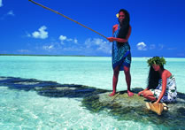 Girls Fishing, Tahiti, French Polynesia
