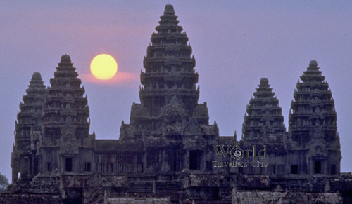 Angkor Wat temple at sunset, Cambodia